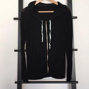 Brandy Melville Hi-Lo Zip-Up Hoodie w/Pockets